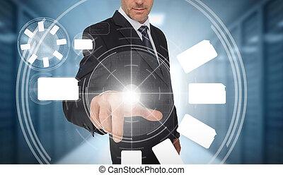 Businessman using wheel interface
