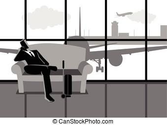 businessman várakozik, övé, menekülés, -ban, a, repülőtér