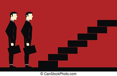 businessman várakozik, lépcsőfok
