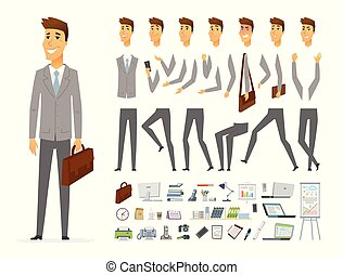 Businessman - vector cartoon people character constructor