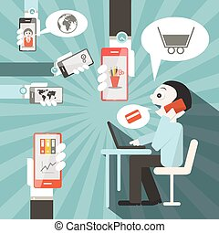 Businessman Vector Illustration with Cell Phones and Computer in Office