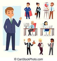 Businessman vector people work place and business worker or person working on laptop at the table in office coworker or character workplace on computer illustration set isolated on white background