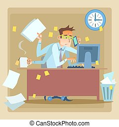 Businessman very busy at work