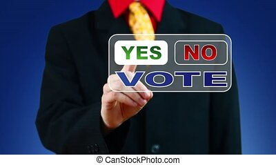 Businessman voting Yes - Businessman pressing Yes button for...