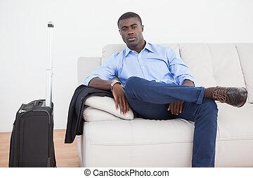 Businessman waiting for a flight