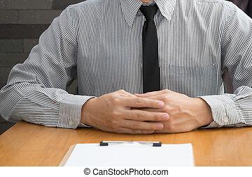 Businessman waiting for a job interview