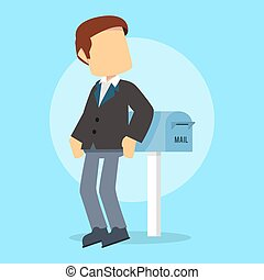 businessman waiting for mail