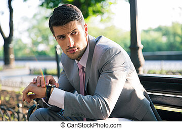 Businessman waiting for somebody