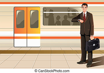 Businessman waiting for subway - A vector illustration of a...