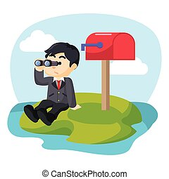 businessman waiting mail with