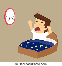 Businessman wake up early. vector
