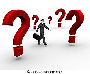 Businessman walk in questions