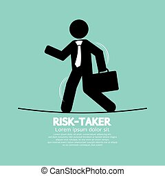 Businessman Walk On Line Rask-Taker - Businessman Walk On A...