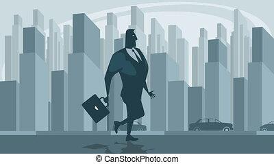 Businessman walk the street