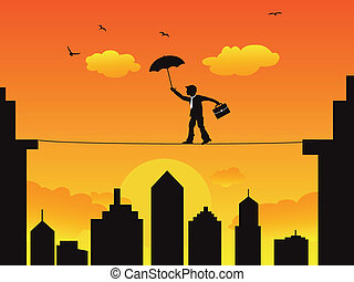 businessman walking a high wire tightrope - A businessman...