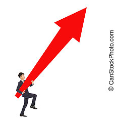 businessman walking and holding a upward red arrow