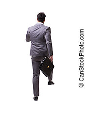 Businessman walking away isolated on white background