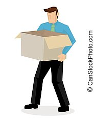 Businessman walking away with a cardboard box. Concept of...