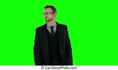 Businessman walking. Green screen.