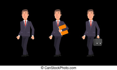 Businessman walking holding folder and suitcase. Alpha channel.