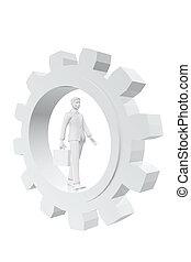 Businessman walking in a gear