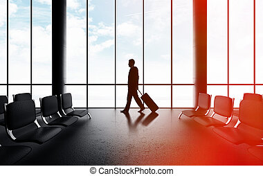 man walking in airport