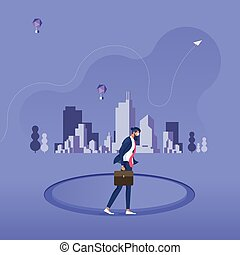 Businessman walking inside a circle-Business monotony concept
