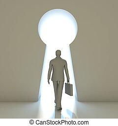 Businessman walking into a gate shaped like a keyhole