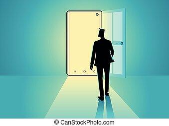 Businessman walking into a smart phone