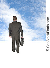 Businessman walking into sky