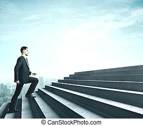 Businessman walking near ladder in sky.