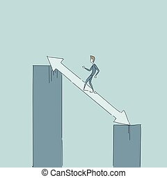 Businessman Walking On Chart Bar On Arrow Up Growth...