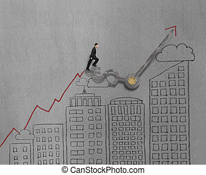 Businessman walking on clock hands with modern building doodles