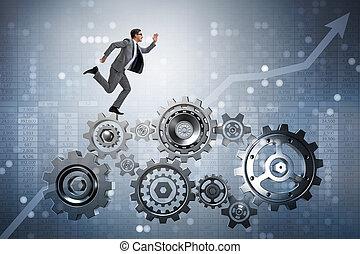 Businessman walking on cogwheels in teamwork concept