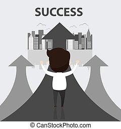 Businessman walking on gray arrow. Businessman of success, Arrow finance up, Arrows business profit info. Profit red arrow with people, Vector, illustration.