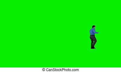 Businessman walking on Green Screen, Luma Matte attached