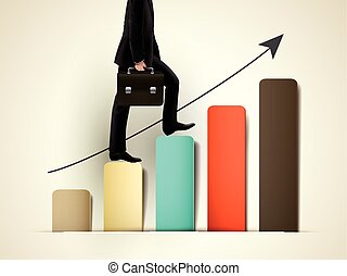 businessman walking on growing graph with arrow