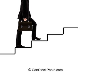 businessman walking on hand drawn stairs