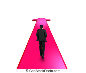 Businessman walking on red arrow going way
