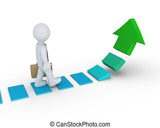 Businessman walking on rising arrow