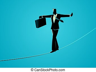 Businessman walking on rope