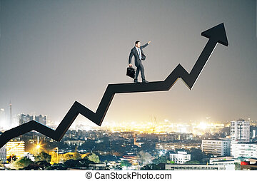 Businessman walking on stock arrow