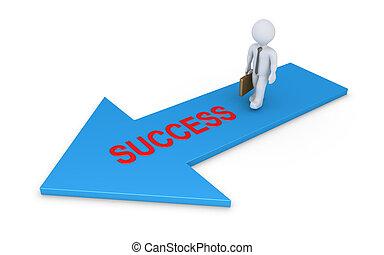 Businessman walking on success arrow