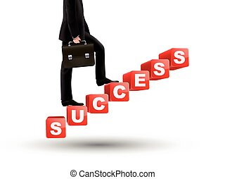 businessman walking on success stairs