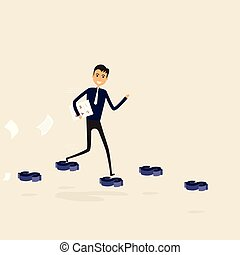 Businessman walking on the blue dollar sign. Way of success. Concept for success. Businessman walking on the street of success. Businessman on the road to success in business. Business vector illustration