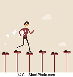 Businessman walking on the red dollar sign. Way of success. Concept for success. Businessman walking on the street of success. Businessman on the road to success in business. Business vector illustration