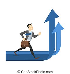 Businessman walking on the rising arrow. Business growth and progress concept