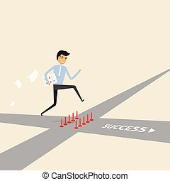 Businessman walking on the street of success with red spike sign. Way of success.