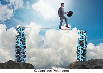 Businessman walking on tight rope