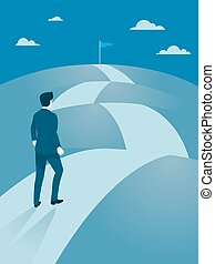 Businessman walking Steady to the top of mountain. -...